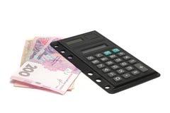 Ucraniano Hryvnia de la calculadora de la oficina Imágenes de archivo libres de regalías