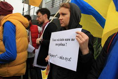 Ucranini nella solidarietà di manifestazione del Cipro Fotografie Stock Libere da Diritti