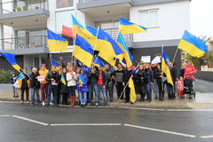 Ucranini nella solidarietà di manifestazione del Cipro Fotografia Stock