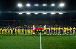 Ucrânia - Sweden teams o fósforo de futebol Imagens de Stock Royalty Free