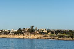 UCSB Skyline seen from across Goleta Bay, California. Santa Barbara, United States - Febriary 16, 2018: Skyline of University California Santa Barbara seen from stock photography