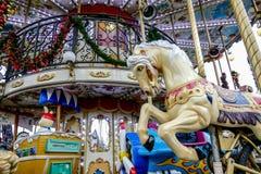 Uczciwy carousel, fotografia wizerunek Piękny panoramiczny widok Paryski Wielkomiejski miasto zdjęcia royalty free