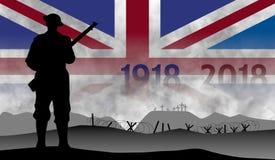 Uczczenie stulecie wielka wojna, Anglia ilustracja wektor