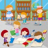 Uczeń czytelnicze książki w bibliotece royalty ilustracja