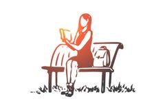 Uczeń, dziewczyna, książka, czytanie, ławki pojęcie Ręka rysujący odosobniony wektor ilustracji