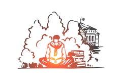 Uczeń, mężczyzna, książka, czytanie, parkowy pojęcie Ręka rysujący odosobniony wektor ilustracja wektor