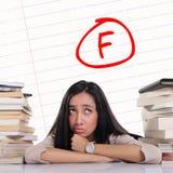 Uczeń ma złego stopień - F ocena na papierze obrazy stock