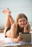 Uczeń na plaży fotografia stock