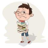 Uczeń niesie stertę książka Zdjęcie Royalty Free