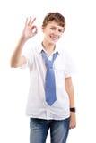 Uczeń pokazuje ok gest Obrazy Stock