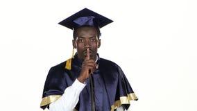 Uczeń pokazuje shhh biały z bliska zbiory wideo