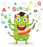uczeń sukces Śmieszny edukacja potwór W Białym tle Kreskówka wektoru ilustracje szkoła się tematu royalty ilustracja