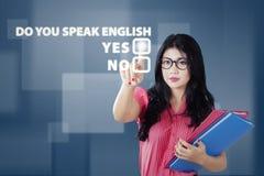 Uczeń uczy się mówić anglików Obraz Royalty Free
