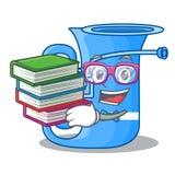 Uczeń z książki miniatury tuba w kształt kreskówce ilustracja wektor