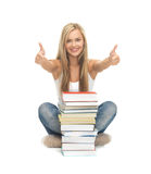 Uczeń z stertą książki Obraz Stock