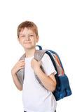 Uczeń z torbą odizolowywającą na bielu fotografia stock