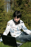 uczeń laptopa Obrazy Royalty Free