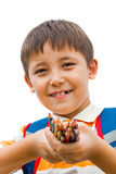 Uczeń z barwionymi ołówkami Zdjęcie Royalty Free