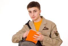 Uczeń z notatnikiem fotografia stock