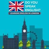 Uczenie angielszczyzny w Londyn Londyński sity Edukacja w Anglia Płaski projekt Obraz Stock