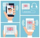 Uczenie angielszczyzny z Mobilną technologią i przyrządem Nauczanie angielszczyzny Online również zwrócić corel ilustracji wektor Obrazy Stock