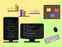 Uczenie cyfrowania i programowania pojęcie, strona internetowa rozwój, sieć projekt Płaska ilustracja Zdjęcia Stock