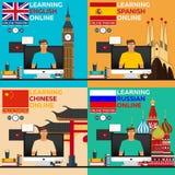 Uczenie język online Rosyjski język, angielski langluage, hiszpański język, chiński język Online szkolenie Dystansowy educa Zdjęcie Royalty Free