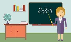 Uczenie pojęcie z nauczycielem blisko blackboard Obrazy Stock