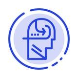 Uczenie, umiejętność, umysł, Kierowniczy błękit Kropkująca linii linii ikona ilustracji