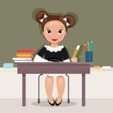 Uczennica przy biurkiem również zwrócić corel ilustracji wektora Zdjęcia Royalty Free