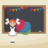 Uczennica z balonami ilustracja wektor