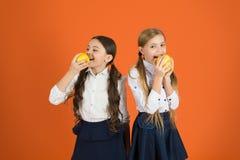 Uczennicy jedzą jabłka Szkolny lunch Witaminy odżywianie podczas dnia powszedniego Zwiększenie studencka akceptacja owoc zdjęcie royalty free