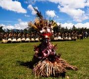 Uczestnicy góry Hagen plemienia lokalny festiwal, Papua - nowa gwinea Fotografia Royalty Free