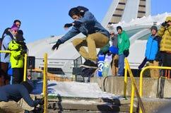 Uczestnik w jazda na snowboardzie Fotografia Royalty Free