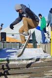 Uczestnik w jazda na snowboardzie Obrazy Stock