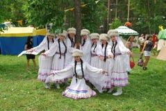 Uczestnika Sabantuy Tatar krajowy kostium Obraz Stock