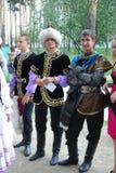 Uczestnika Sabantuy Tatar krajowy kostium Zdjęcia Stock
