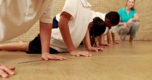 Uczni robić pcha podnosi podczas sport lekci zdjęcie wideo