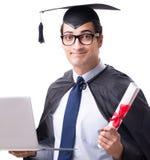 Ucznia absolwent odizolowywaj?cy na bia?ym tle zdjęcia royalty free
