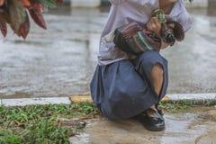 Ucznia spacer powódź obraz royalty free