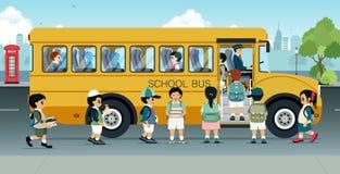 Ucznie chodzą na autobusie ilustracji