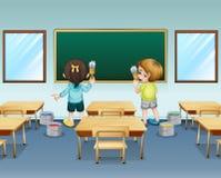 Ucznie maluje ich sala lekcyjną royalty ilustracja