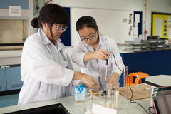 Ucznie studiują chemię i naukę w uniwersyteckim ` s laborat Fotografia Royalty Free