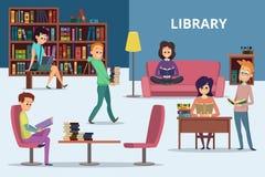 Ucznie w bibliotece Zaludnia czytelnicze książki Wektorowi charaktery ustawiający ilustracja wektor