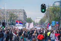 Ucznie wziąć ulicy protest przeciw Serbskiemu rzędowi Obraz Stock