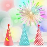 Uczta, świętowanie, dekoracj akcesoria, kolorowy fajerwerku kapelusz - wektorowy pojęcie Zdjęcia Royalty Free