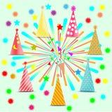 Uczta, świętowanie, dekoracj akcesoria, kolorowy fajerwerku kapelusz - wektorowy pojęcie Fotografia Stock