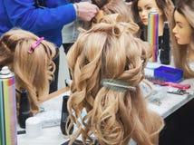 Uczyć się fryzury na głowach mannequins obrazy royalty free