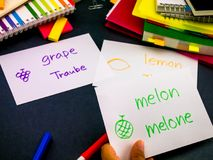 Uczyć się Nowe Językowe Robi Oryginalne Błyskowe karty; Niemiec Zdjęcie Stock