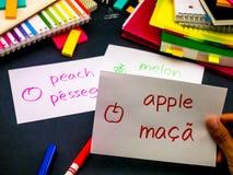 Uczyć się Nowe Językowe Robi Oryginalne Błyskowe karty; Portugalczyk Obrazy Royalty Free